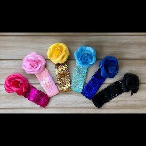 Other - Baby Flower Sequin Headband Set